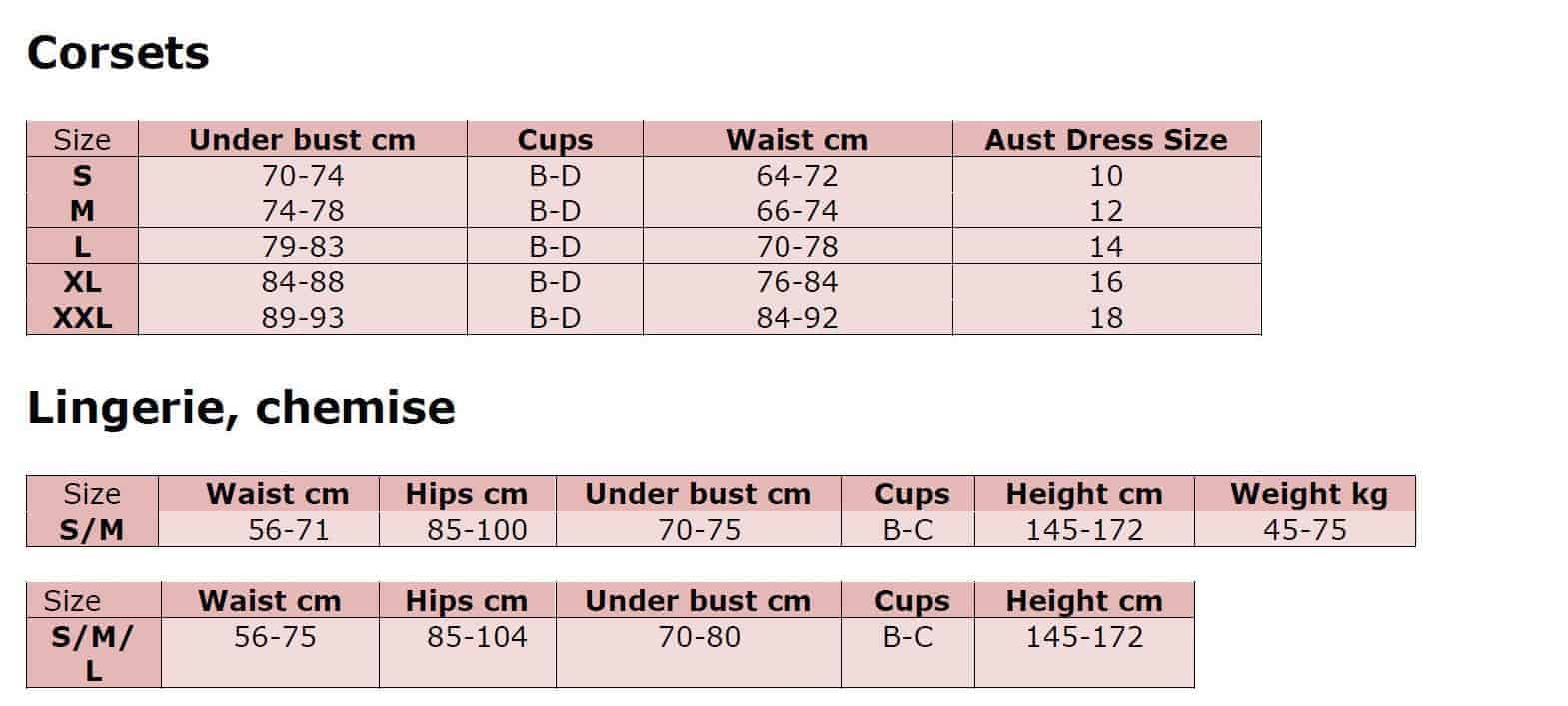 Chilirose Size Guide